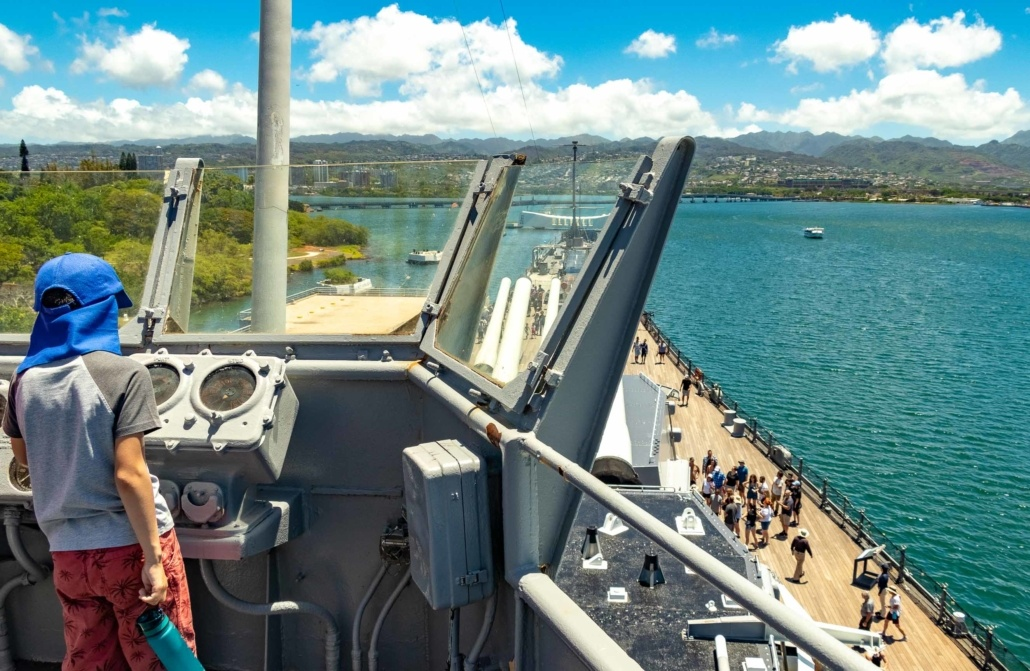 USS Missouri Bridge Kids Visitor Pearl Harbor Oahu