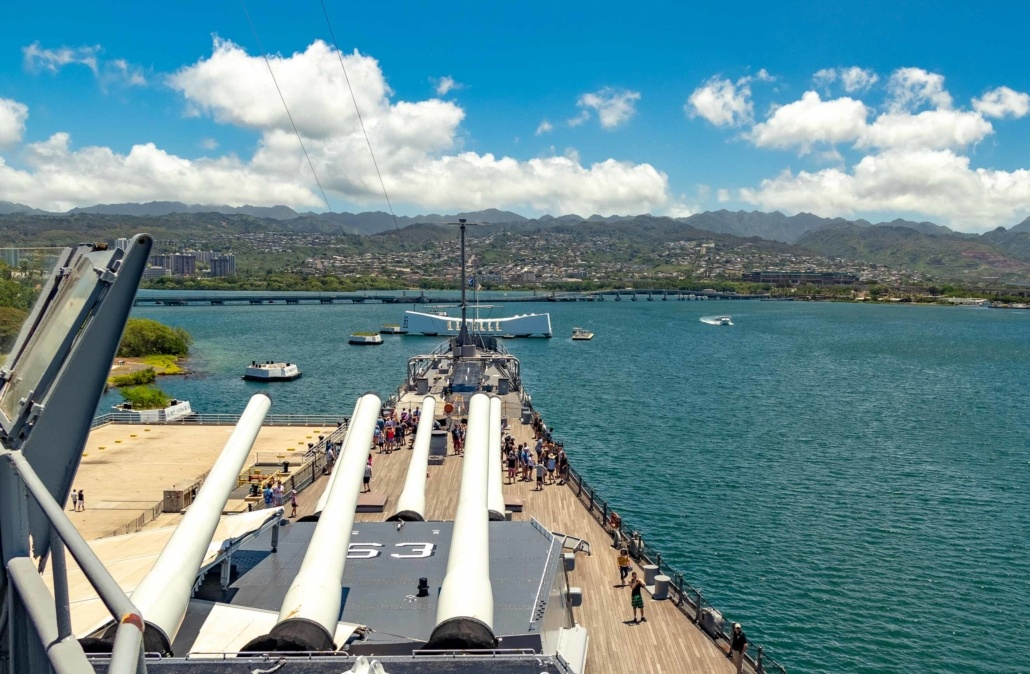 USS Missouri Guns and Arizona Memorial Pearl Harbor Oahu