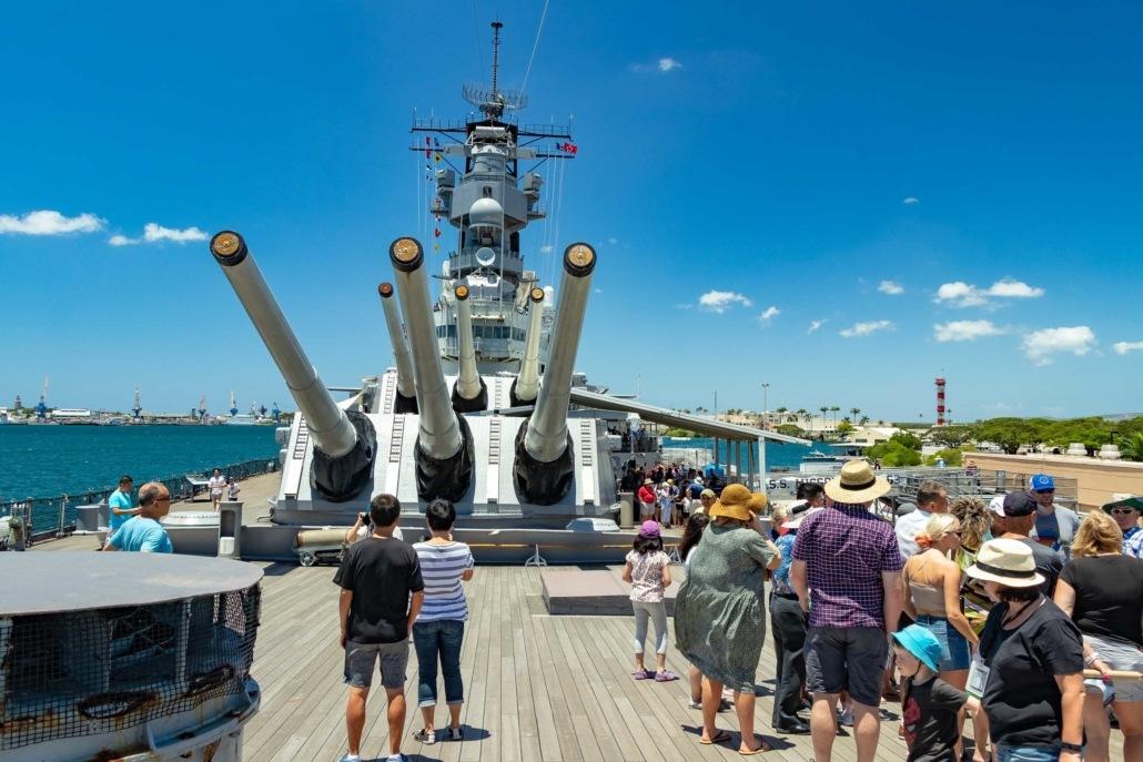 USS Missouri Main Deck Crowd Visitors Pearl Harbor Oahu