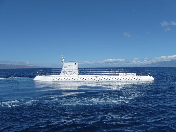 Submarine above water