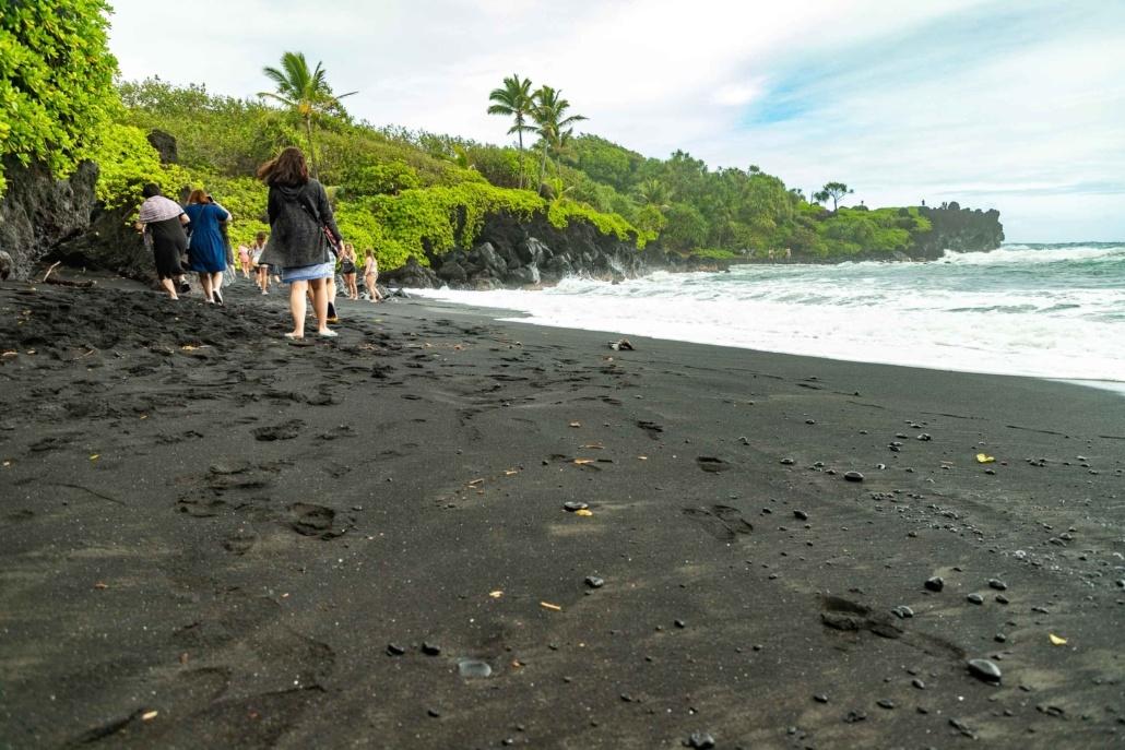Black Sand Beach Visitors Road to Hana Maui