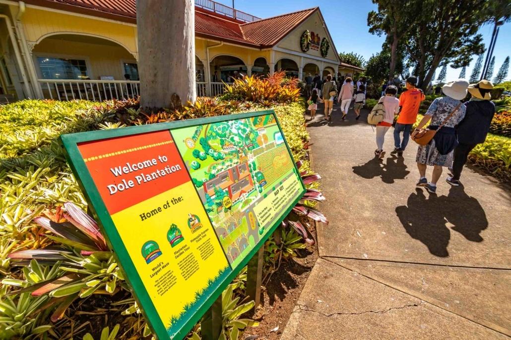 Dole Plantation Entrance Sign and visitors Oahu
