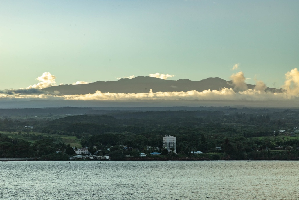 Hilo Bay Evening Town and Mauna Kea Big Island
