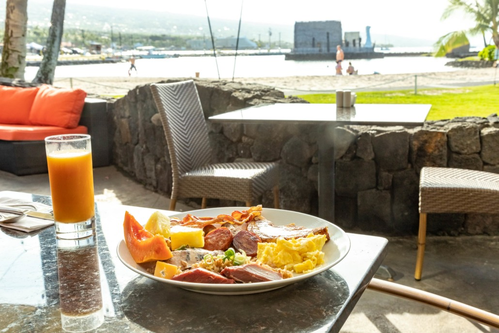 Honu's Restaurant Breakfast Buffet Plate and Beach View at Kamehameha Hotel Kona Big Island