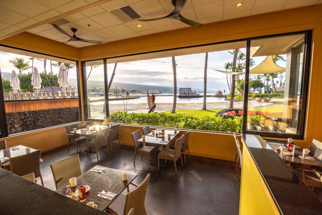 Honu's Restaurant Interior View of Beach at Kamehameha