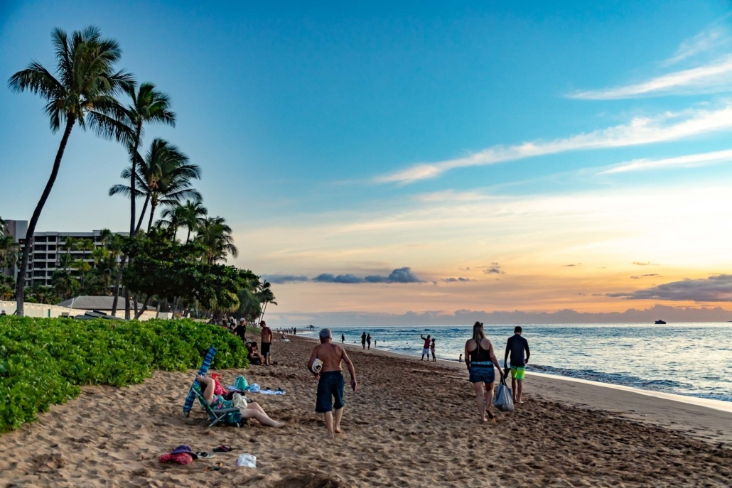Kaanapali Beach Sunset Near Walkway Maui