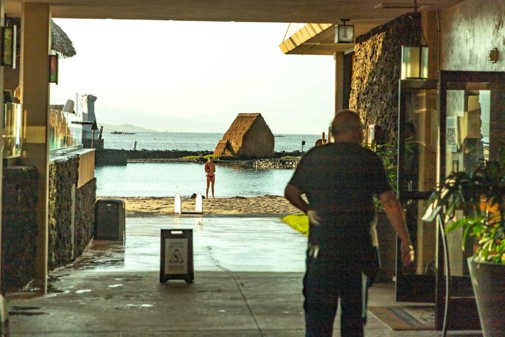 Kamehameha Hotel View to Beach by Pool and Restaurant Kona Big Island