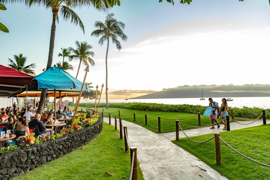 Leilanis Restaurant Beachside Seating at Sunset Kaanapali Walkway Maui