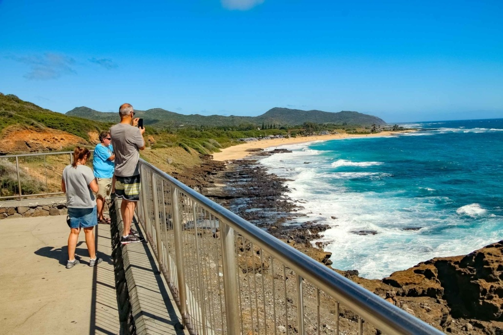 Overlook Of Sandy Beach Visitors at Blowhole Oahu