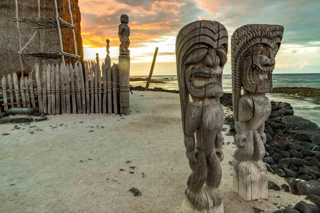 Place of Refuge Heiau and Carvings Sunset Kona Coast Big Island