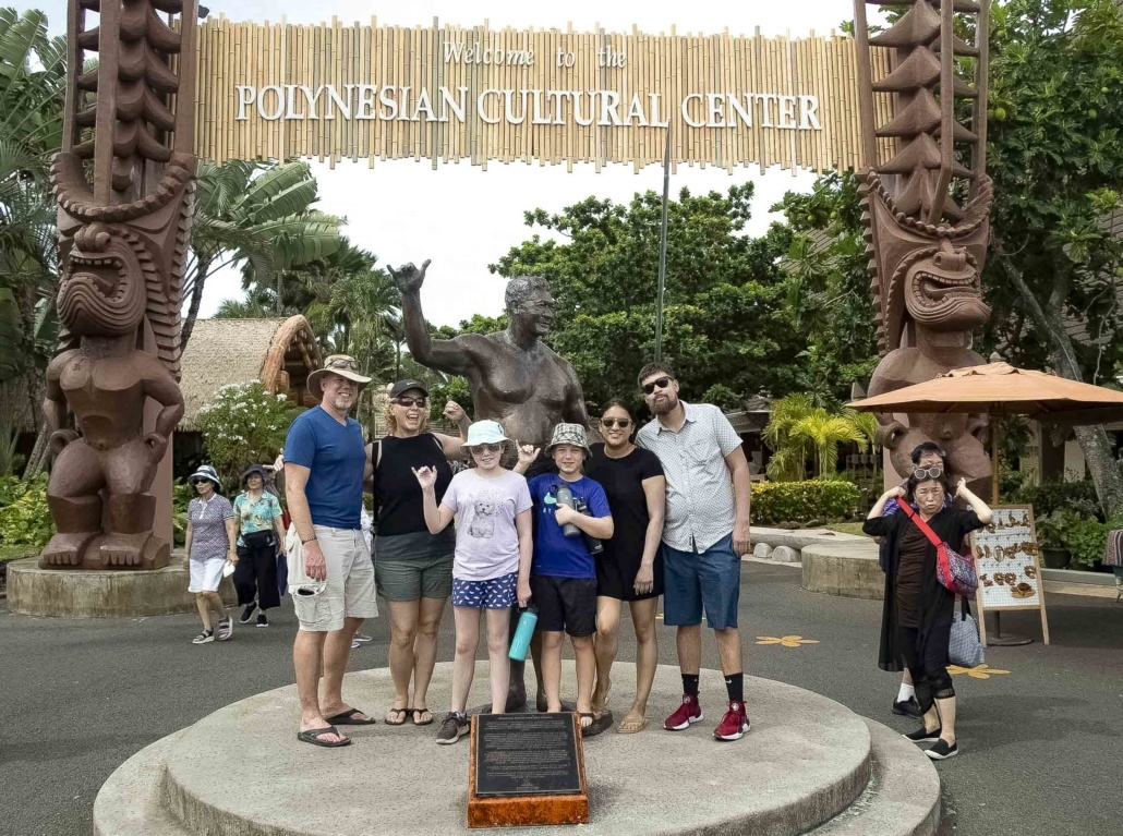 Polynesian Cultural Center Entrance Family Photo Oahu