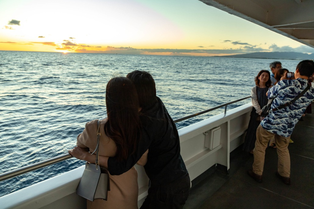 Star Of Honolulu Boat Couple and Guests at Sunset Oahu