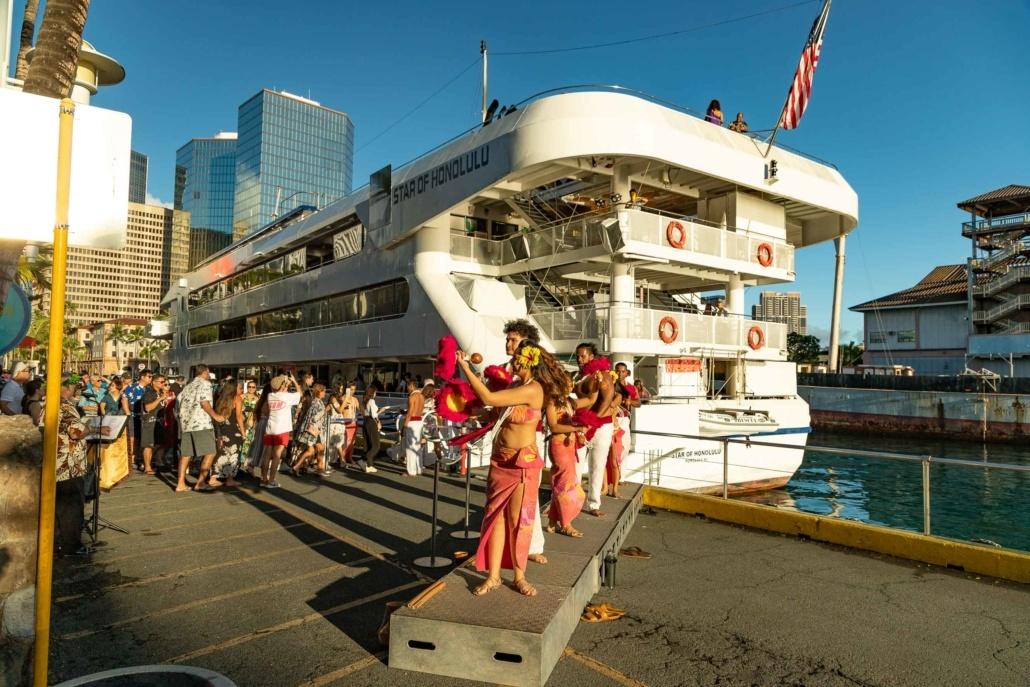 Star Of Honolulu Boat Hula Dancers and Guests at Dock Boarding Oahu