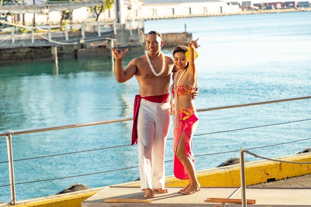 Star Of Honolulu Boat Hula Dancers on Dock Oahu