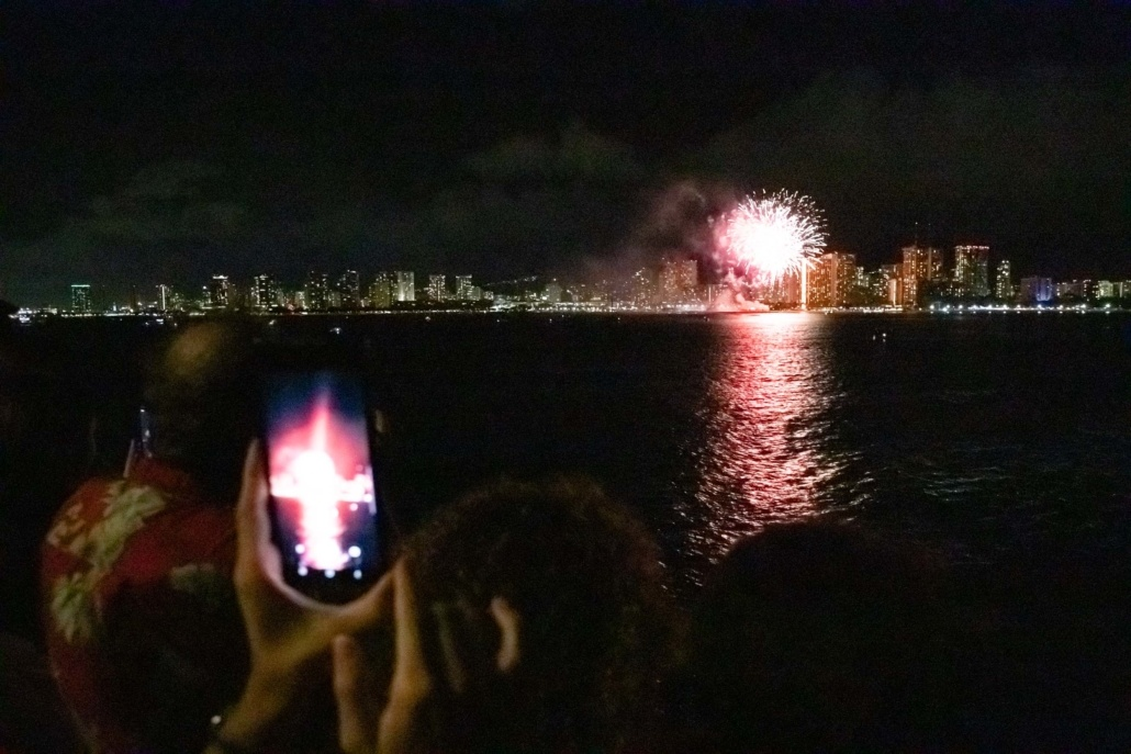 Star of Honolulu Fireworks Dinner Cruise and Guests on Deck Oahu