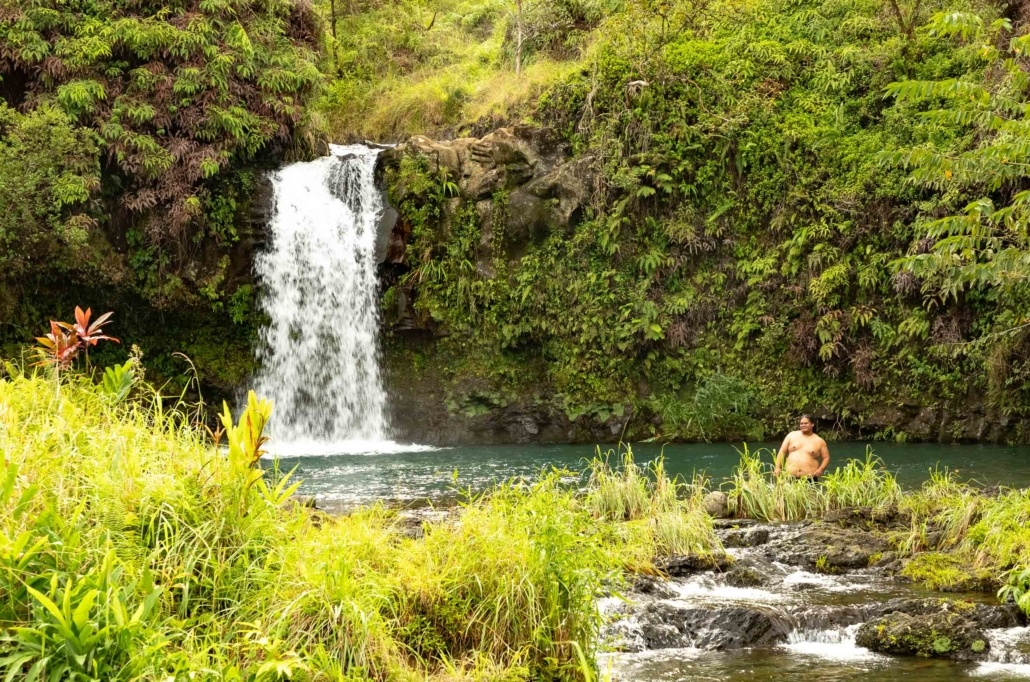 Swimmer at Puua Kaa State Park Road to Hana Maui