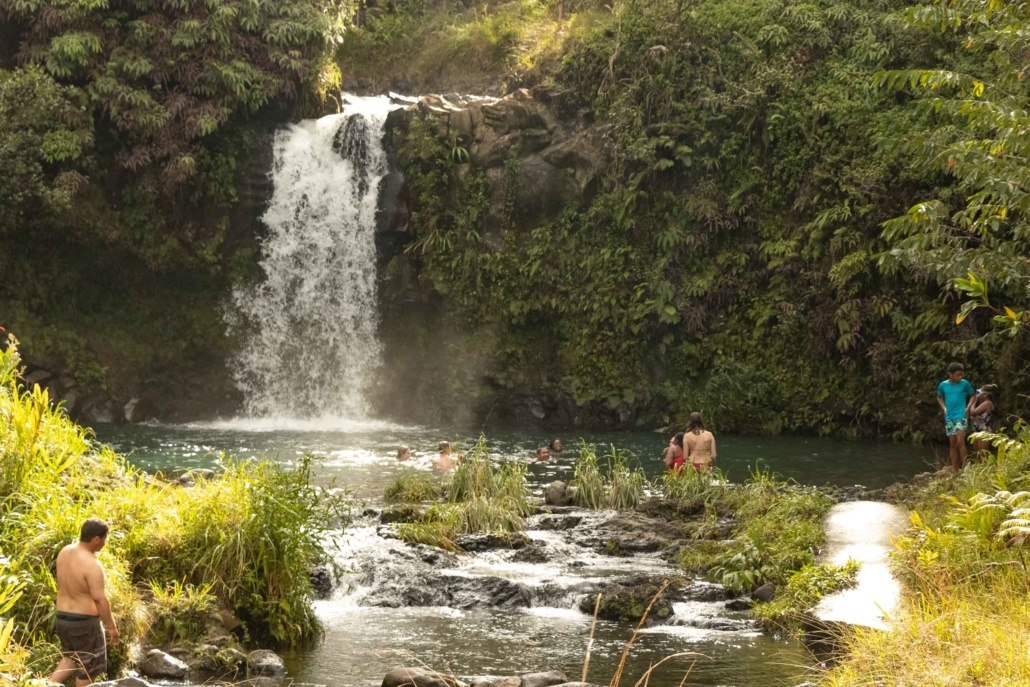 Swimming Visitors at Puua Kaa Wayside Park Road to Hana Maui
