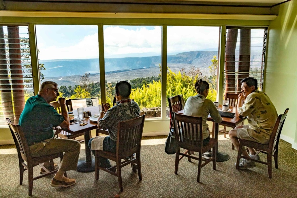 Volcano House Dining Room Visitors Kilauea Big Island