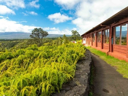 Volcano House Lodge Front and Ferns Volcanoes National Park Big Island