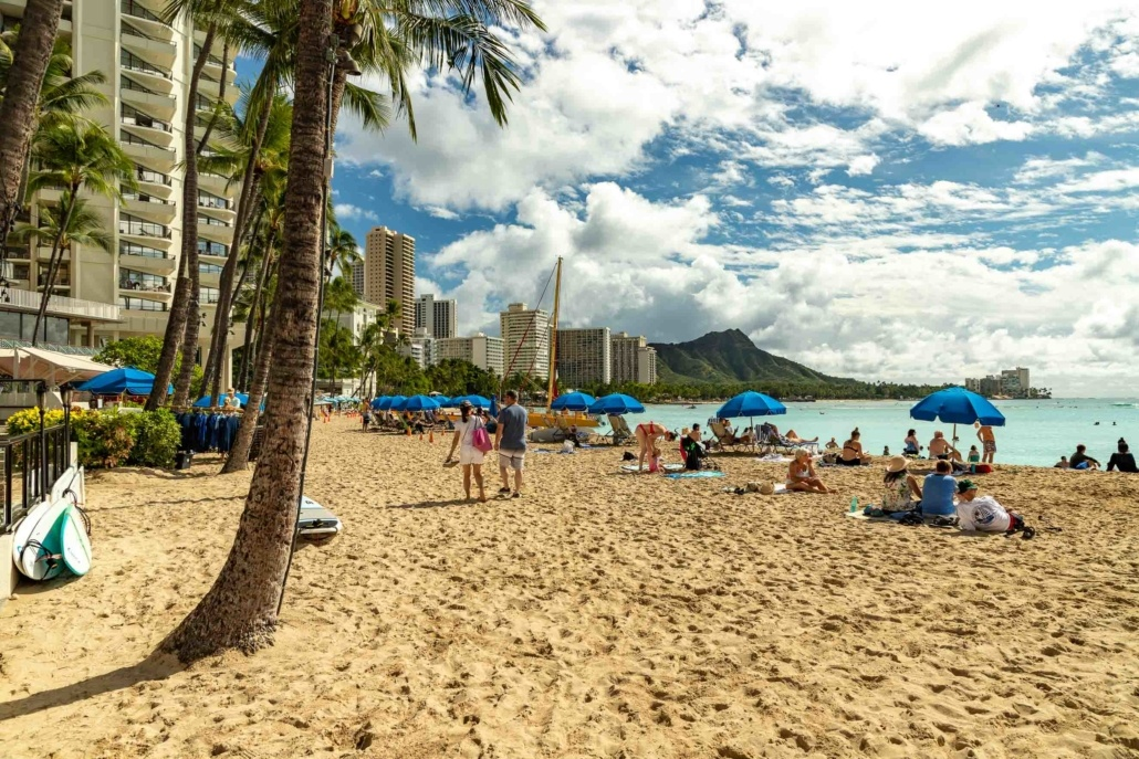 Waikiki Hotels Beach and Diamond Head at Honolulu Oahu