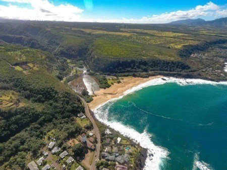 Waimea Bay and Valley Aerial Oahu