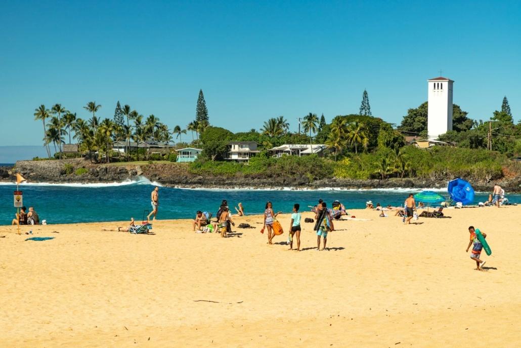 Waimea Bay Beach and Church Tower North Shore Oahu