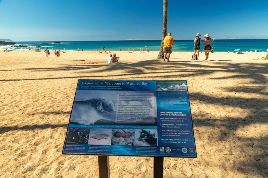Waimea Bay Sign and Beach Oahu