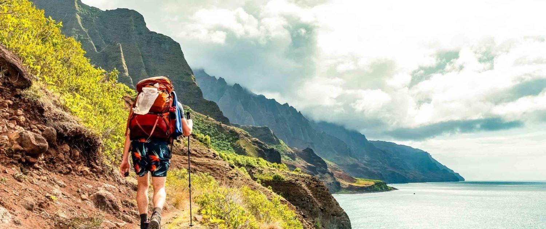 Hiking Visitor on Kalalau Trail in Na Pali State Park North Kauai