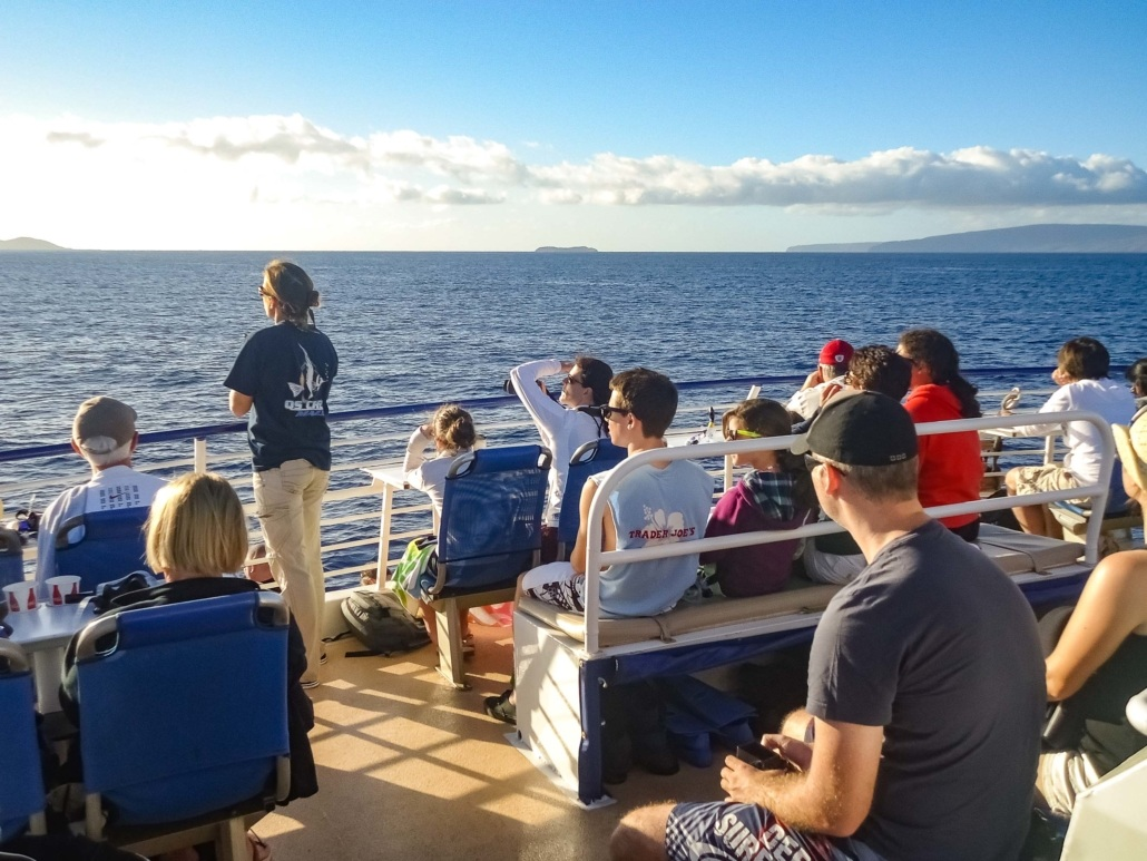 Maui Whale Watching Boat Upper Deck and Guests