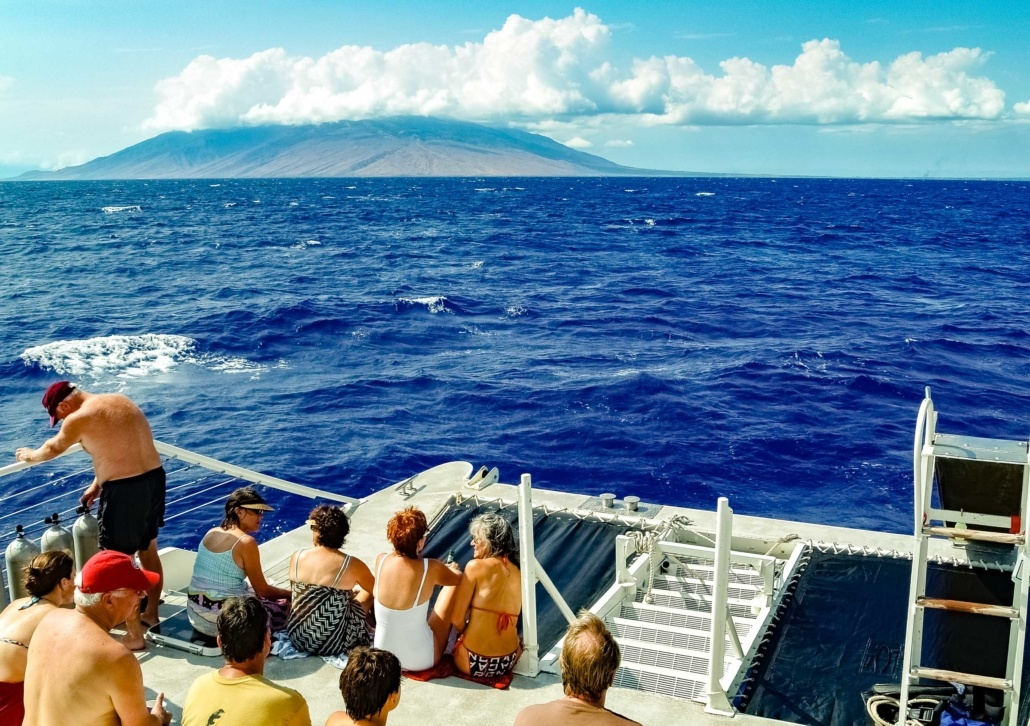 Whale Watching Boat Guests Maui