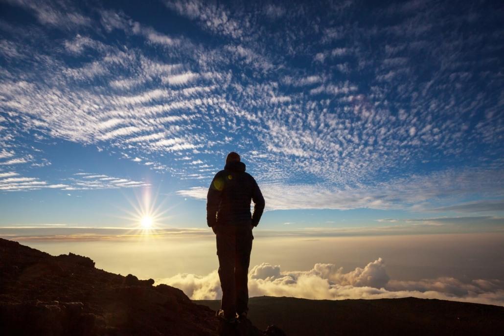 Woman Standing At Haleakala Summit