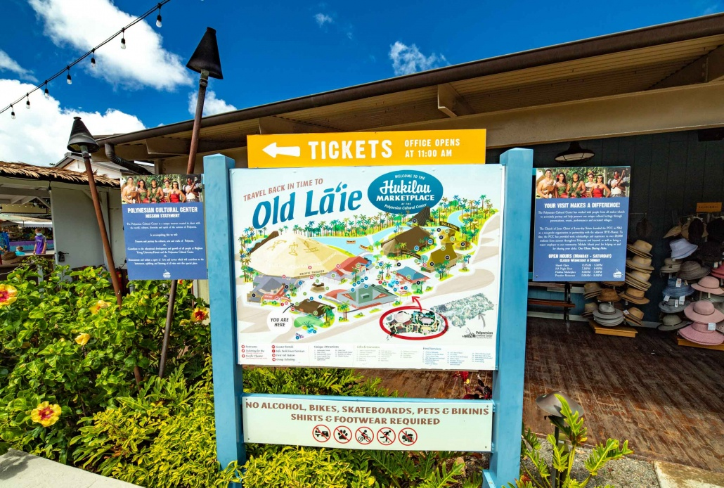 Polynesian Cultural Center Hukilau Market Place Map of Villages Oahu