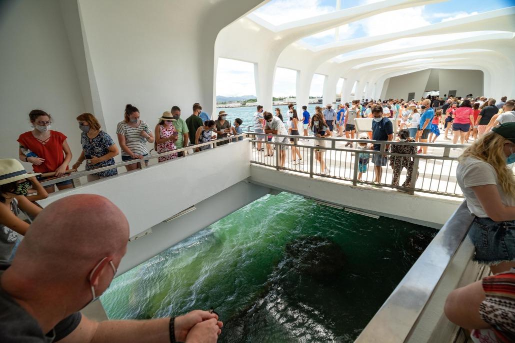 Arizona Memorial Visitors and Portal viewing Pearl Harbor Oahu