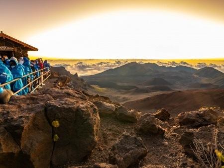 Haleakala Crater Sunrise and Visitors Maui