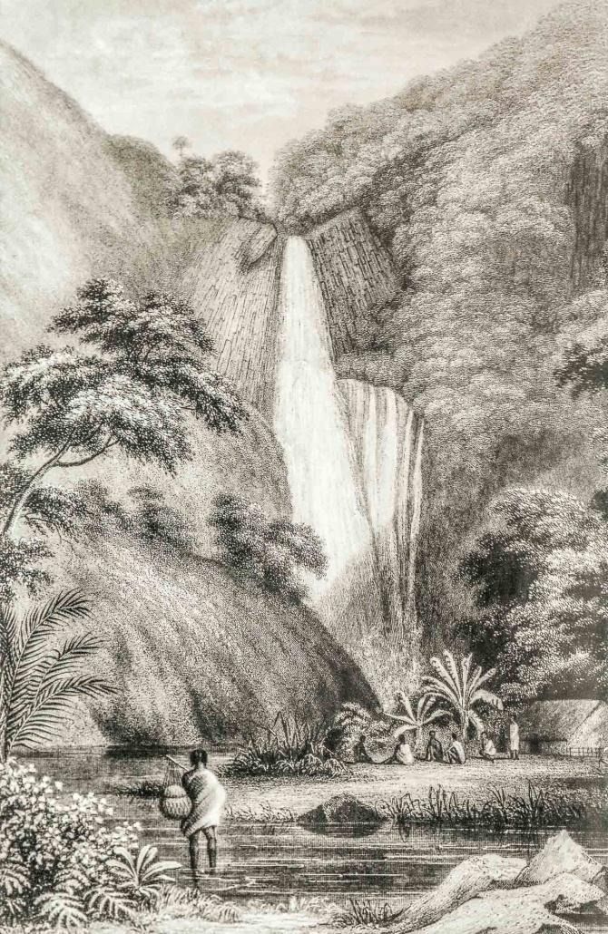 Ancient Hawaiian Village etching by Choris 1816