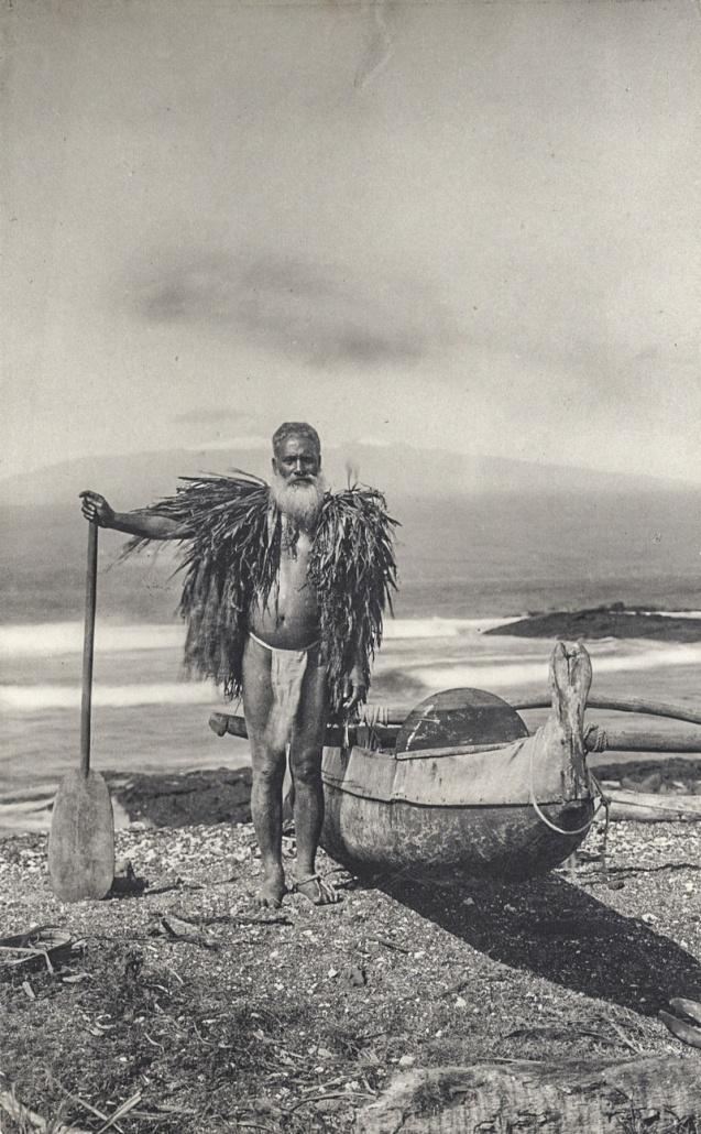 Hawaiian_fisherman_in_a_malo_and_ahu_la'i,_ca._1890s_Ancient Hawaii