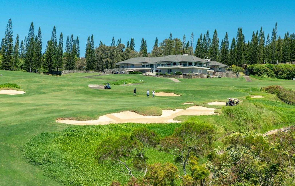 Kapalua Plantation Course Clubhouse with 9th and 18th Holes Maui Golf