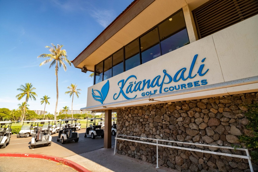 Kaanapali Golf Courses Clubhouse Sign and Carts Maui