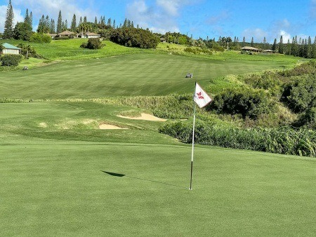 Kapalua Plantation Course 18th Green and Flag EX Maui Golf