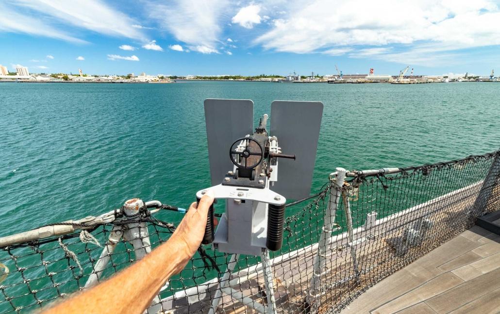 USS Missouri Deck 50 cal Machine Gun Pearl Harbor Oahu