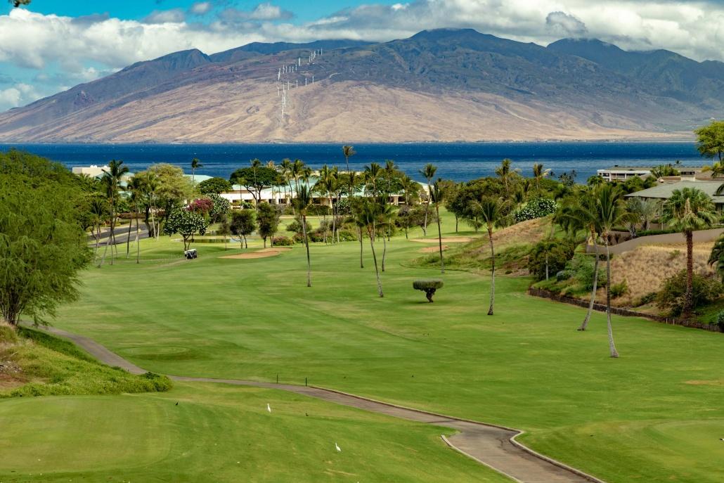 Wailea Blue Course Golfers and Mountains Maui